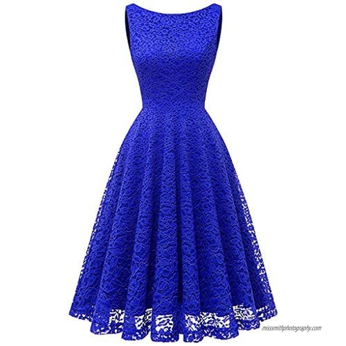 Women's Crew Neck Vintage Lace Swing Pleated Christmas Dress Cocktail Party Club