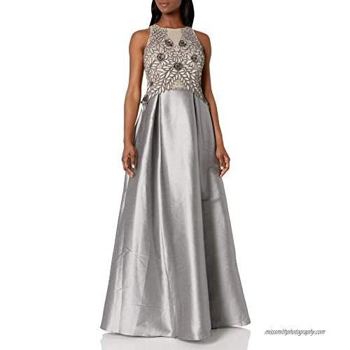 Adrianna Papell Women's Irridescent Faille Beaded Gown