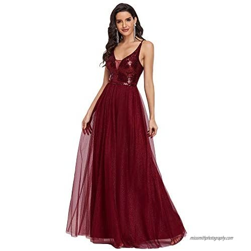 Ever-Pretty Womens Sparkle Deep V Neck A Line Sequin Tulle Formal Dress 0210