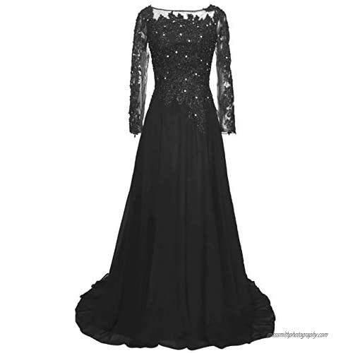 Mother of The Bride Dress Lace Mother Dresses Evening Formal Gowns Long Sleeve