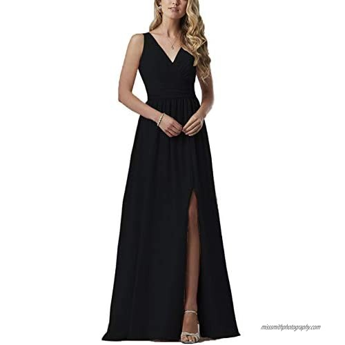 Women's Double V-Neck Bridesmaid Dresses with Slit Long Chiffon Formal Evening Party Dress 2019 B047