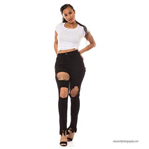 Aphrodite Denim Jeans for Women - Womens Distressed Ripped Cut Out Jeans