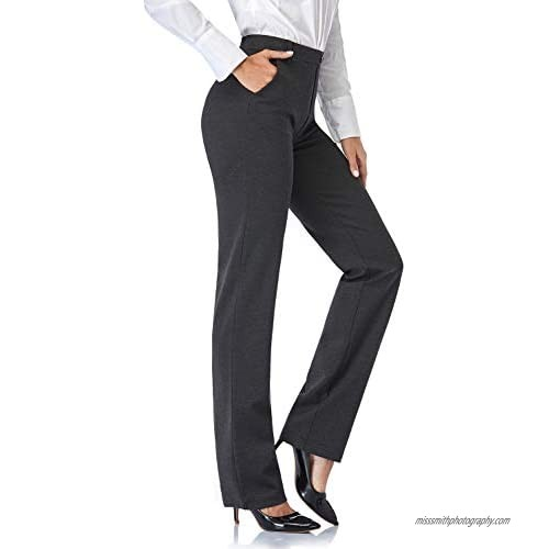 Tapata Women's 28''/30''/32''/34'' Stretchy Straight Dress Pants with Pockets Tall  Petite  Regular for Office Work Business