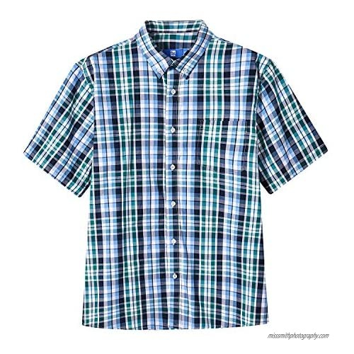 HZ&HY Men's Casual Button-Down Short Sleeve Shirts  100% Cotton  Western Plaid Shirts for Men  Regular Fit with Pocket