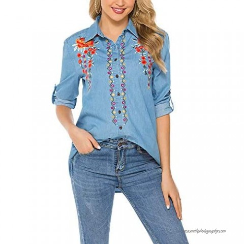 AK Women's Mexican Embroidered Long Sleeve Button Down Collared Denim Shirts Elegant Work Blouses Tops