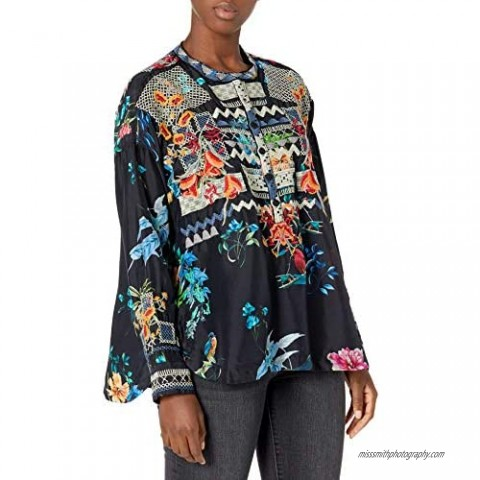 Biya Johnny Was Women's Silk Printed and Embroidered Blouse