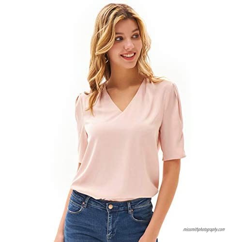 GRACE KARIN Women Short Puff Sleeve V Neck Tops Casual Loose Pleated Shirt Blouse