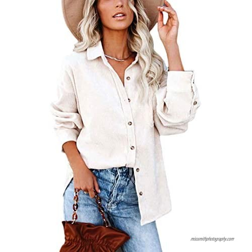 Himosyber Women's Casual Loose Fit Oversize Solid Corduroy Lapel Button Shacket Jackets Shirt