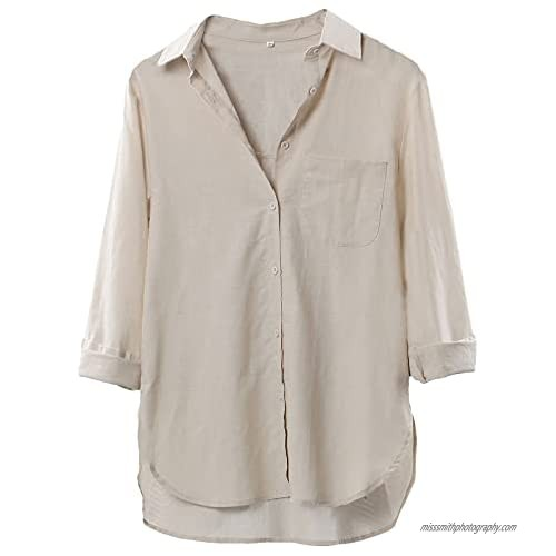 LaovanIn Women's Linen Shirts Oversized Button Down V Neck Shirt Long Sleeve Blouse Casual Plain Tops with Pockets