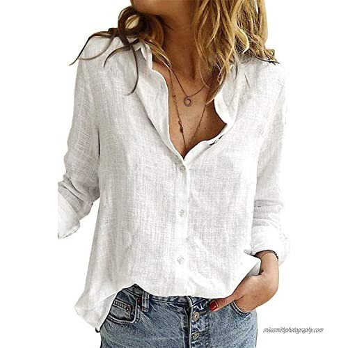 Uusollecy Women's Long Sleeves Shirts  Casual V-Neck Blouses  Roll Up Sleeve Shirt Tunic Tops