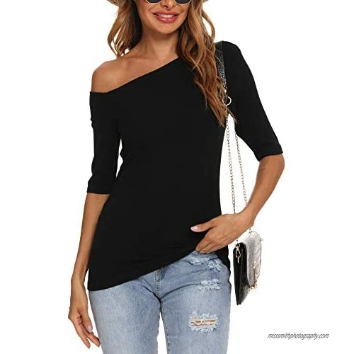 YYA Off Shoulder Tops for Women Half Sleeve Shirts Slim Fit Casual Stretchy Blouse S-XXL