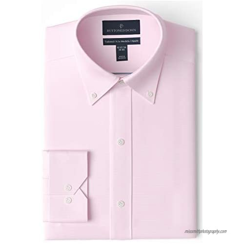 """Brand - Buttoned Down Men's Tailored-Fit Button Collar Pinpoint Non-Iron Dress Shirt  Light Pink  15"""" Neck 32"""" Sleeve"""