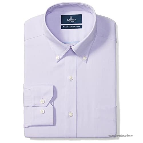"""Brand - Buttoned Down Men's Tailored-Fit Button Collar Pinpoint Non-Iron Dress Shirt  Purple  16.5"""" Neck 32"""" Sleeve"""