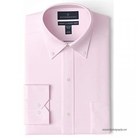"""Brand - Buttoned Down Men's Tailored-Fit Button Collar Pinpoint Non-Iron Dress Shirt  Light Pink  17"""" Neck 34"""" Sleeve"""