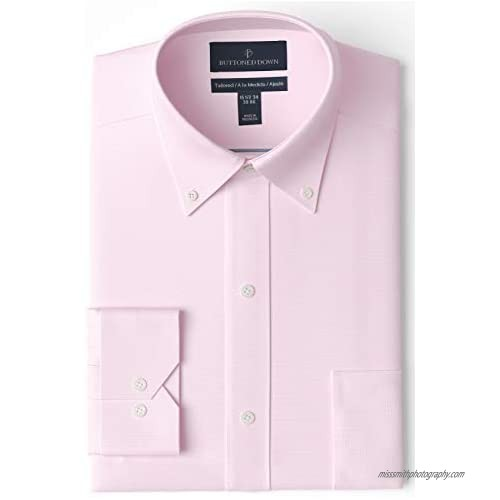 """Brand - Buttoned Down Men's Tailored-Fit Button Collar Pinpoint Non-Iron Dress Shirt  Light Pink  16.5"""" Neck 33"""" Sleeve"""
