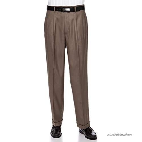Giovanni Uomo Mens Pleated Front Pin Striped Dress Pants