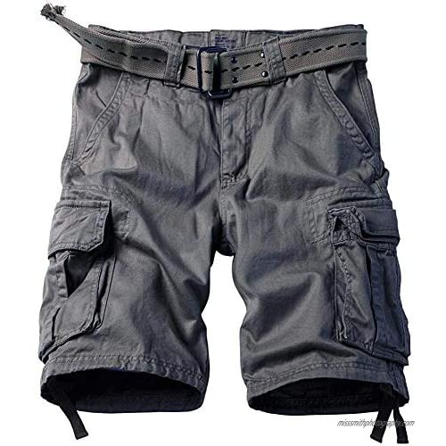 KOCTHOMY Men's Cotton Classic Cargo Shorts Casual Relaxed Fit with Multi Pocket Gray 29