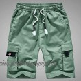 Mens Cargo Shorts Elastic Waist Outdoor Relaxed Fit Big and Tall Shorts with Multi-Pocket