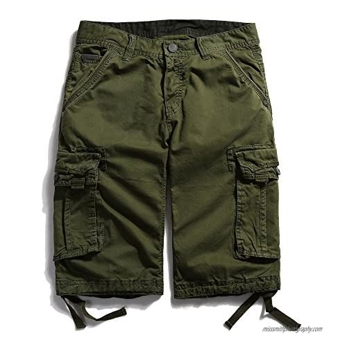 OCHENTA Men's Casual Loose Fit Cargo Shorts with Multi Pockets #3229 Army Green 38