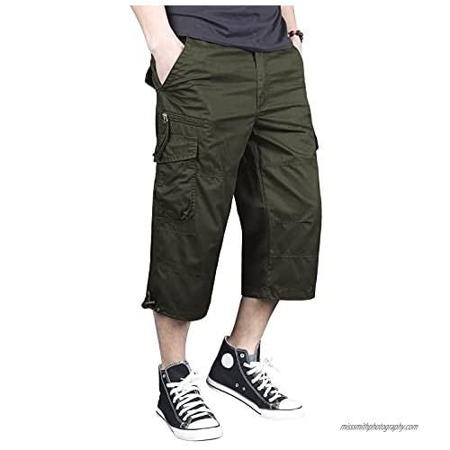 """Swibitter Men's 3/4 Pants Below Knew Loose Fit 15"""" Inseam Cargo Shorts with Multi Pockets"""