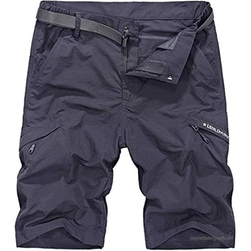 XinYangNi Men's Outdoor Summer Super Lightweight Quick Dry Slim Fit Belted Cargo Shorts with Multi Dark Grey 32
