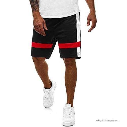 ZNU Mens Shorts Athletic Workout Classic Fit Stretch Drawstring Summer Beach Striped Shorts