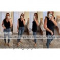 Women's Lace Tank Tops V Neck Sleeveless Summer Casual T Shirts Tunic Side Split Loose
