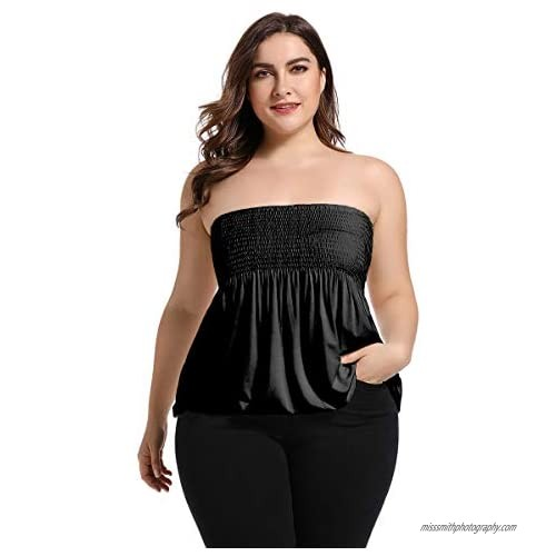 Women's Sexy Strapless Sleeveless Pleated Stretch Casual Large Size Tube Top XL-5XL