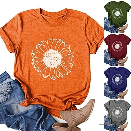 Jaqqra Summer Tops for Women  Womens Short Sleeve Tops Sunflower Print O-Neck T-Shirts Casual Loose Blouse Tunic Tee Top