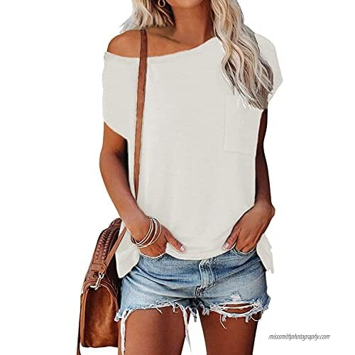 Nirovien Womens Casual Cap Sleeve T Shirts Solid Off Shoulder Tops Side Split Loose Summer Tees with Pocket(White M)