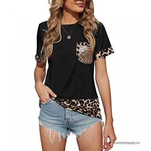 ROSKIKI Women's Summer Casual T-Shirts Splicing Short Sleeve Crew Neck Loose Fit Tees Tops