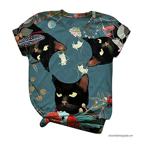 Womens T Shirts Short Sleeve Graphic 3D Cat Flower Pattern Printed Crewneck Tee Tops Plus Size