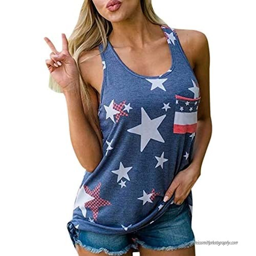 4th of July USA American Flag Women Tank Tops Independence Day Patriotic Vintage Racerback Vest Sleeveless Shirts
