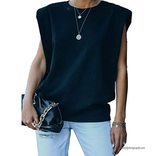 ROSKIKI Women's Loose Summer Casual Top Crew Neck Sleeveless Padded Shoulder Tees Vest Shirts Blouse