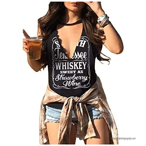Whiskey Sweet As Strawberry Wine Shirts Hollow Out Summer Tank Top Womens Country Music Funny Graphic Sleeveless T Shirt