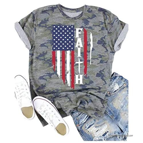 Camouflage American Flag Faith T-Shirt for Women 4th of July Patriot US Gift Graphic Tees Short Sleeve Blouse Tops