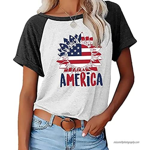 Independence Day Shirt Women Sunflower American Flag 4th of July T-Shirts Causal Summer Graphic Tee Tops