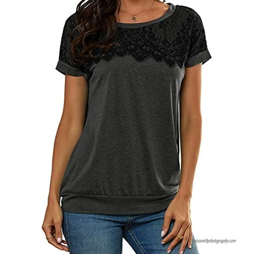 Lace Shirts for Women  Elegant Lace Tops Short Sleeve Crewneck Casual Women Tops