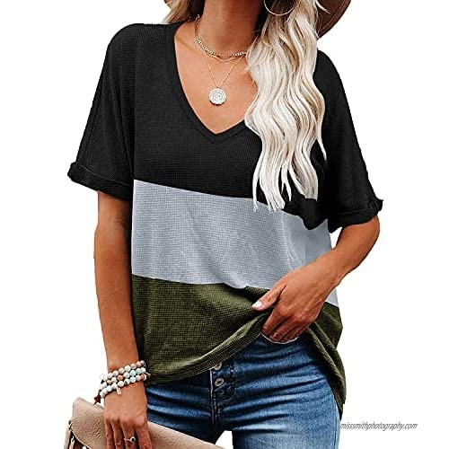 Womens Tops Loose Fit Color Block V Neck Short Sleeve T Shirts Summer Fashion Tee Tunic Tops