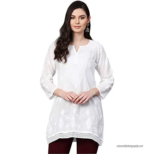 Ada Indian Hand Embroidered Chikankari Cotton Top Tunic Blouse Shirt for Women A391704