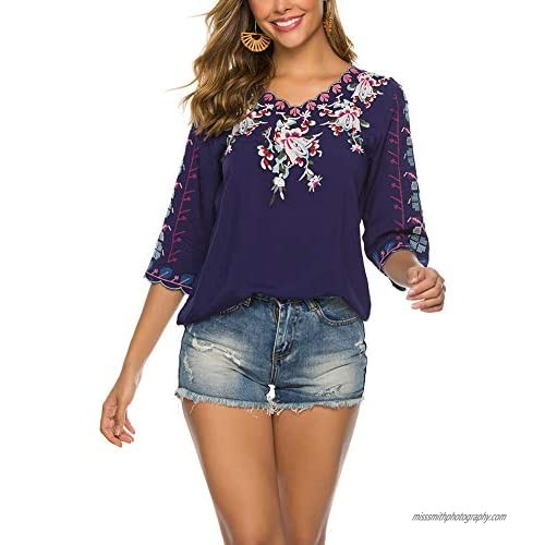 AK Women's Summer V Neck Boho Embroidered Mexican Shirts Short Sleeve Casual Tops Blouse