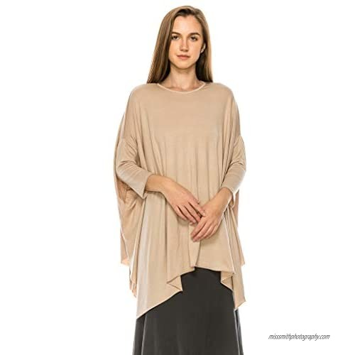 EDENNAOMI Women's Tunic T Shirt - 3/4 Sleeve Dolman Batwing Casual Crewneck Loose Poncho Fit Basic Tee Top Blouse Pullover