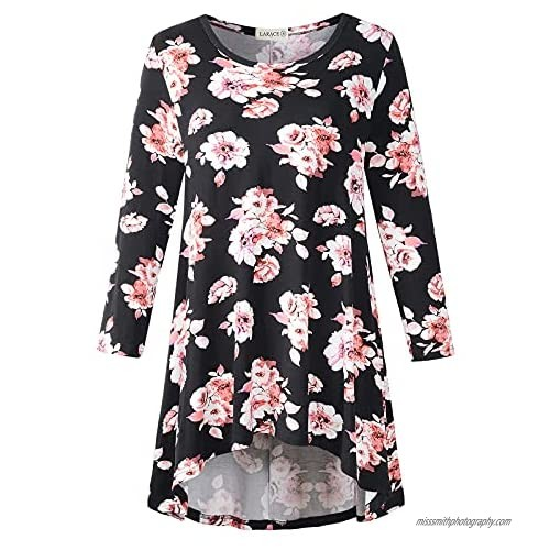 LARACE Womens Plus Size 3/4 Sleeve Loose Fit Flare Swing Tunic Tops Floral High Low Basic T Shirt