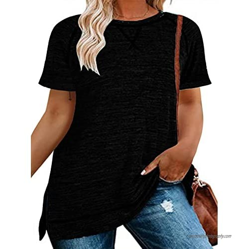 Plus-Size Women's Tops Short Sleeve Crew Neck T-Shirts Casual Summer Striped Tunic