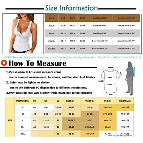 Honiser Women's Sleeveless Vest Solid Color Low-Cut Deep U-Neck Button Casual Fashion Slim Sexy Personality Top Blouse