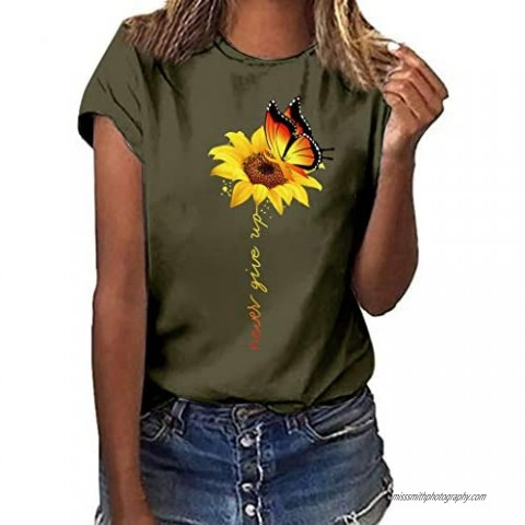 Limsea Sunflower Graphic Tees Women Short/Long Sleeve Blouse Round Neck Summer Casual Loose Plus Size T Shirt Tops