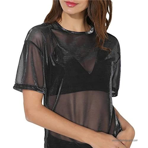 LODDD Women Fashion Tops Casual Hollow Transparent Round Neck Short Sleeve T-Shirt Top Blouse