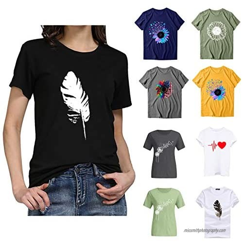 Womens Summer T Shirts Short Sleeve Leaves Print Blouse Casual O-Neck Tee Top Tunic for Women