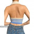Women's Y2K Knitted Crop Top Vest Wavy Pattern V-Neck Shirt Breasted Tops Halter Sleeveless Blouse